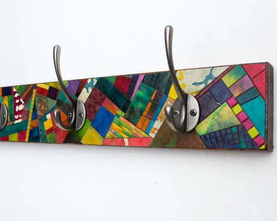 Recycled Wood Wall Coat Rack Colorful Mosaic Handmade Paper Quilt