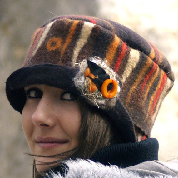 Unique felted hat brown orange felt hats wool felt hat nunofelt fiber art cloche unique earthy felt hat