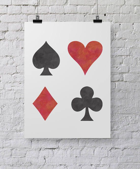 Playing Card Symbols Stencil Large Wall Art Template By Etsy Art Template Symbols Card Tattoo