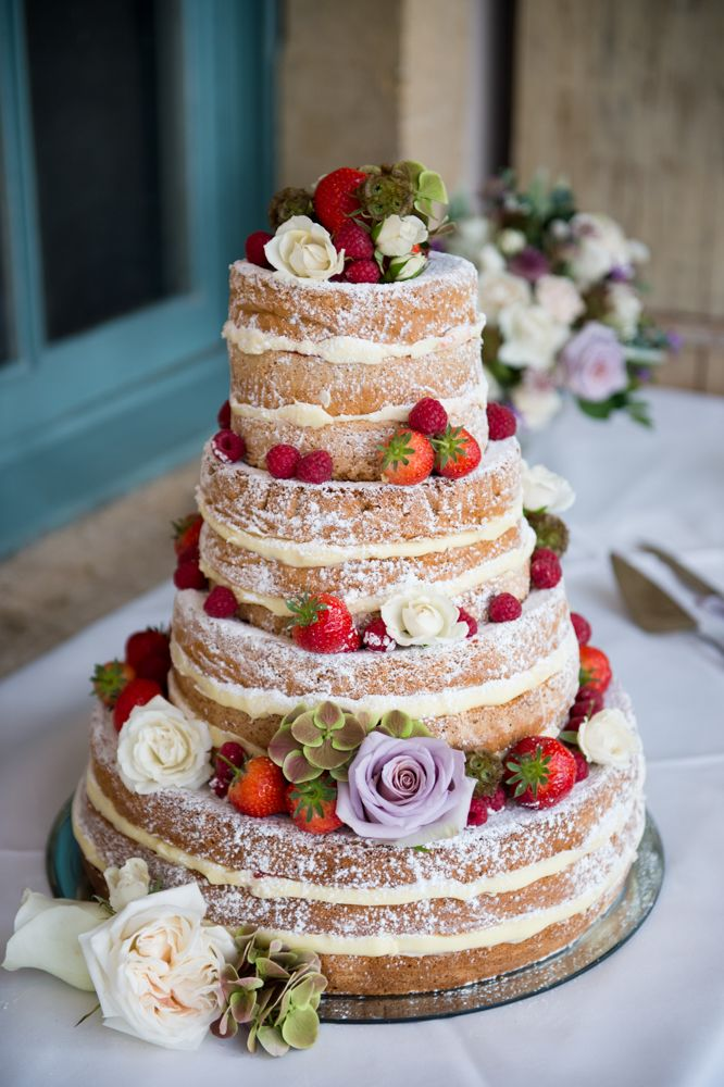 Naked Sponge Wedding Cake | Elegant Classic Wedding at Babington House in Somerset | Green colour scheme | Sarah Seven Lace Illusion Neck Wedding Dress | Photography by Especially Amy | http://www.rockmywedding.co.uk/charlotte-gerard/