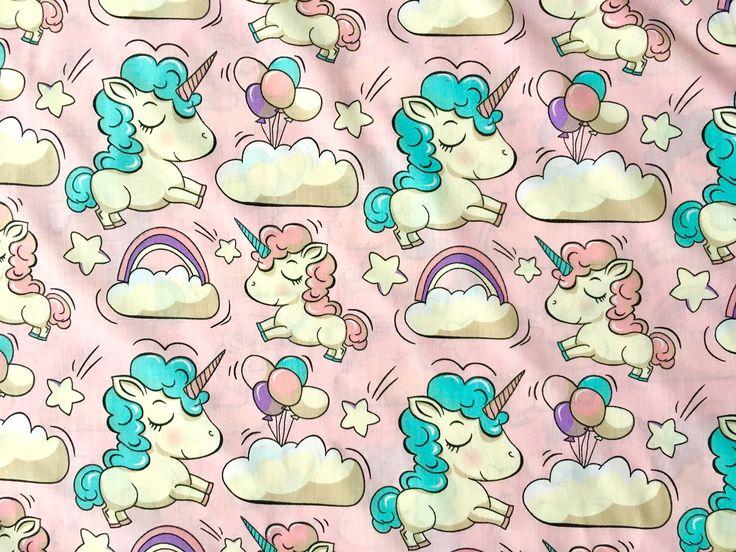 Excited to share the latest addition to my #etsy shop: unicorn fabric, horse fabric, little horses fabric, pony fabric, balloons fabric, pink fabric, children fabric, rainbow fabric, cloud fabric #supplies #animalprint #pinkunicorn #pinkhorse #rainbowfabric #crafting #cotton #quilting