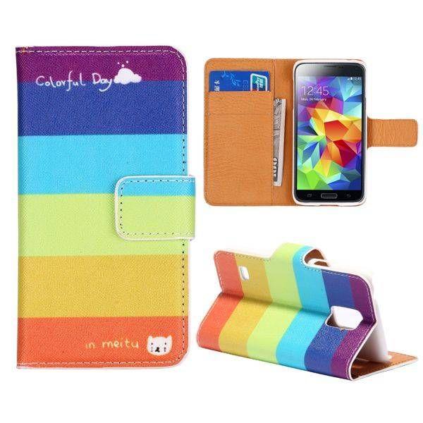 Regenboog kleuren bookcase voor Samsung Galaxy S5 mini