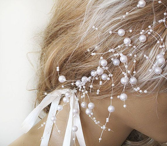 Wedding Pearl  headband Pearl tie headband  for by ADbrdal on Etsy, $29.00