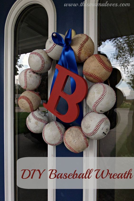 Baseball Decor - DIY Baseball Wreath screws thick copper wire wrapped around its screw head to attach baseballs to the wire hanger or tiered green wire wreath form