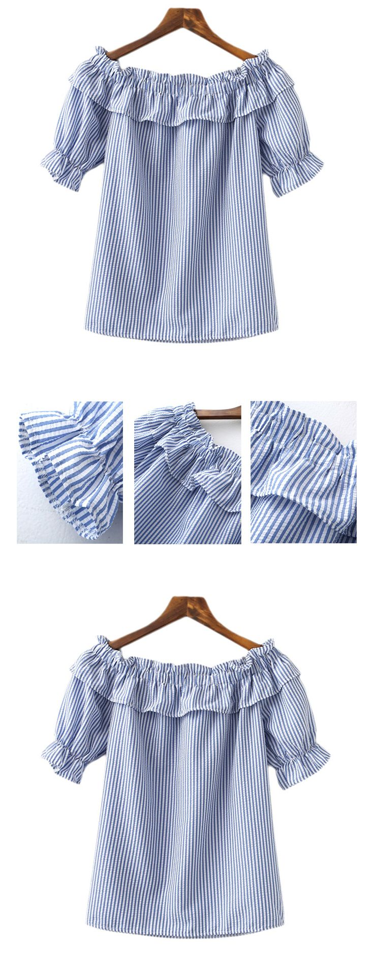 Vacation style-Blue White Stripe Ruffle Boat Neck Blouse. Hot top for women this summer. The trendy design is combined Korean-style with European-style. Cute and fashion.