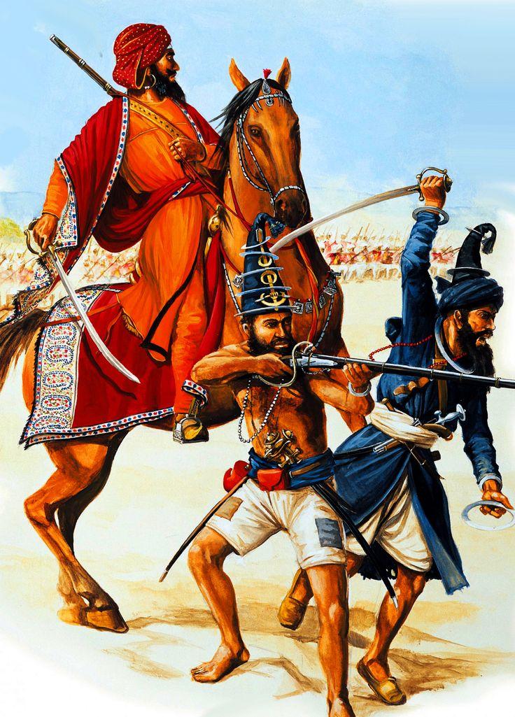 Sikh Ghorchurra Khas sowar warriors charging into battle
