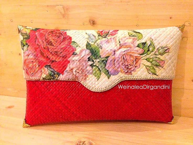 Red Hot Rosez Decoupage Woven clutch