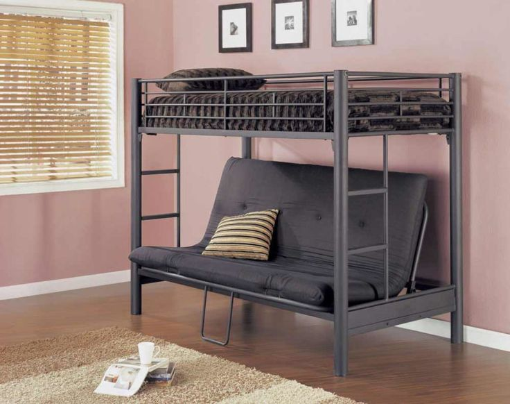 Appealing IKEA futon loft bed with comfortable dark gray sofa underneath and ladder.