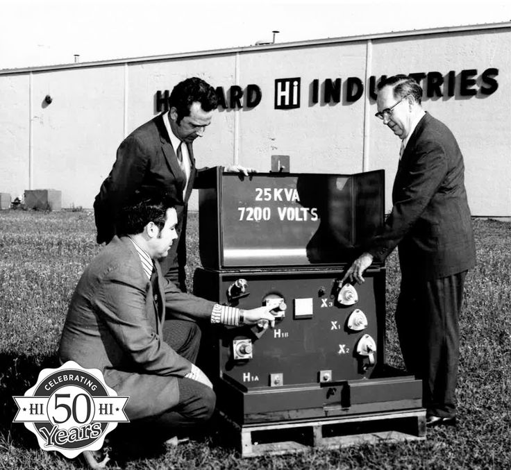 This week's #TBT shows Mr. Billy Howard, Sr., Mr. Charles Brett, and Mr. Jim Holcomb with one of the company's first single-phase pad transformers at the original transformer production facility's grand opening. Howard Industries, Inc. has been providing the country with distribution transformers for 50 years and is now the leading manufacturer in the United States. #Howard50 #transformer #production #company #50yearsofexcellence