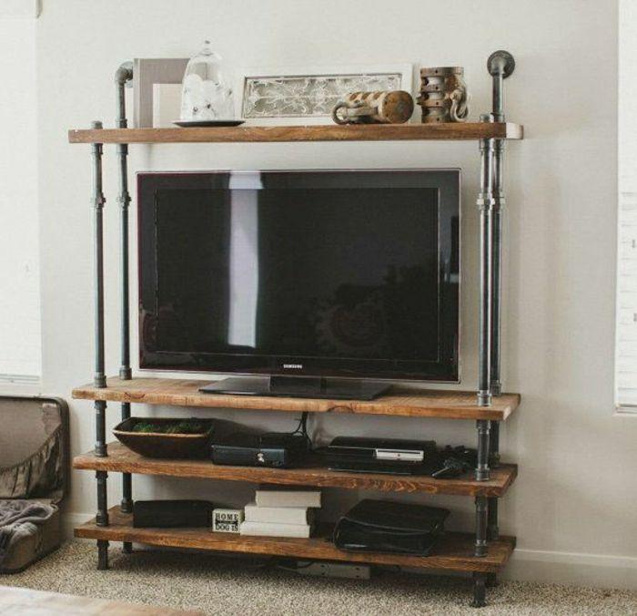 tapis beige, meuble télé en bois et fer, meubles industriels, mur blanc, design salon moderne