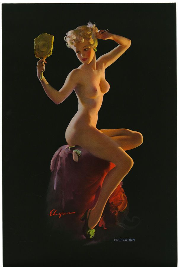 VINTAGE GIL ELVGREN 1940S NUDE PERFECTION ART DECO PIN UP PRINT POSTER SIZED NR