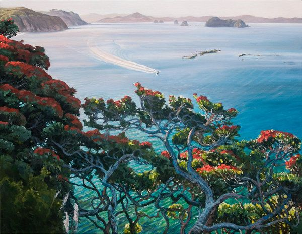View North from Te Pare, Hahei  NZ Artist, Jane Galloway