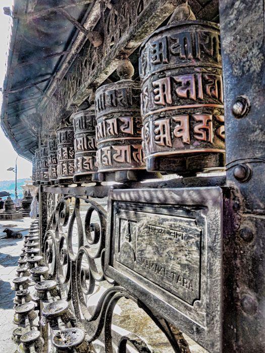 Prayer Wheels Swayambhunath Monkey Temple Kathmandu