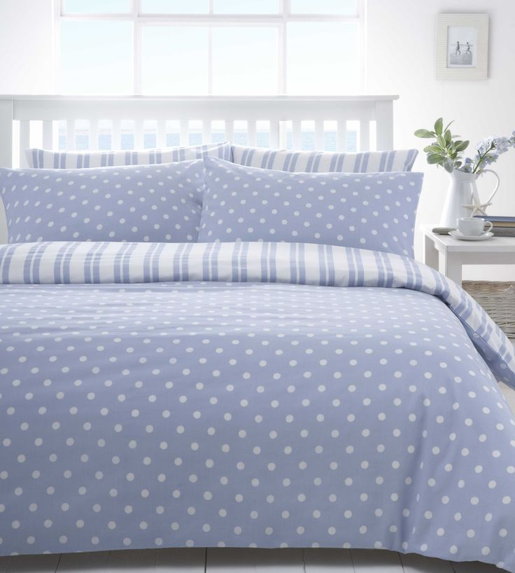 Blue White Polka Dot Spot or Stripe Boys Discount Bedding Sets Bed Linen | eBay