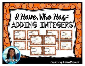 """Need a quick and easy, whole group, review activity for adding integers? Adding Integers: I Have, Who Has.. Cards are just what you need. INSTRUCTIONS TO PLAY: Distribute ALL (32) cards amongst your students. (some students may need to double up) One person will start by reading their """"Who has..."""",  The person who has the answer will read it as """"I have...."""