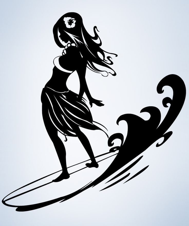 Vinyl Wall Decal Sticker Surfer Hula Girl 1280 Girls