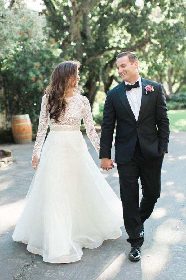 How stunning is this crochet top long sleeve wedding dress? http://www.stylemepretty.com/california-weddings/carmel-valley/2016/03/10/elegant-organic-romantic-holman-ranch-inspiration-shoot/ | Photography: Carlie Statsky - http://www.carliestatsky.com/