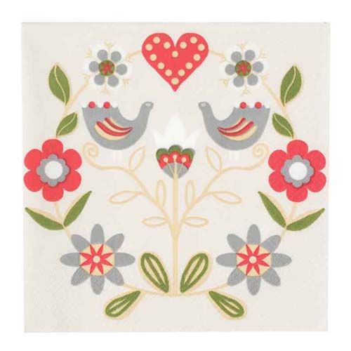 Scandinavian folk art paper napkins from Finland