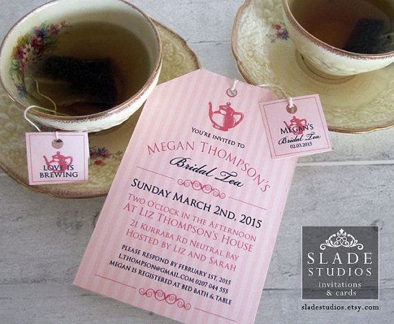 Bridal Tea invitations. High Tea traditional tea bag tags and invitation printable.