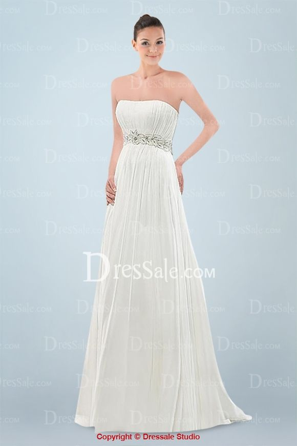 Grecian Strapless Dipped Wedding Dress with Pleats