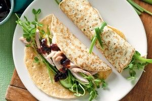 Peking chicken crepes with snow pea salad