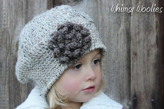 Crochet Pattern: 'Sofia Belle Beret' with Loopy Flower, Crochet hat, Toddler, Child/Tween & Women