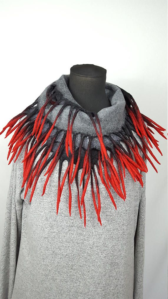 Red gray grey black nuno felted scarf winter autumn handmade