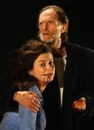 "2003 - ""Titus Andronicus"" - David Bradley plays Titus with Eve Myles as Lavinia. Stratford"