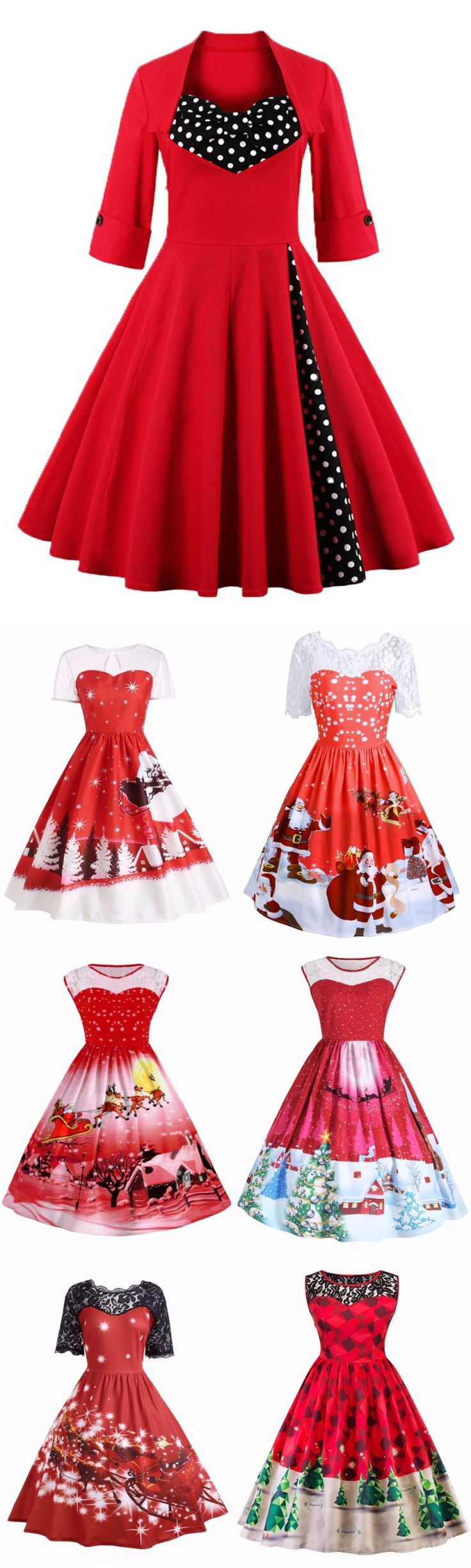 #Red #Christmas Up To 85% OFF | Start From $3.99 | Red Vintage Christmas Dress | Sammydress.com