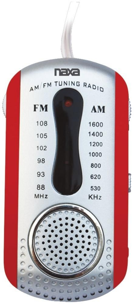 wholesale Naxa - AM/FM Mini Pocket Radio with Speaker (Red) (Case of 5)