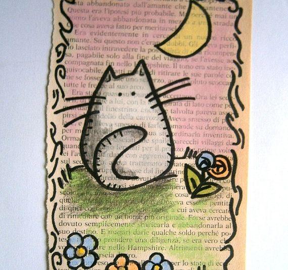 Il Gatto E La Luna  Illustrazione Originale  creata da di bdbworld, $21,00