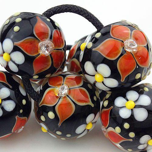 pikalda handmade lampwork 8glass bead colorful vivid flower red diamond sra ebay