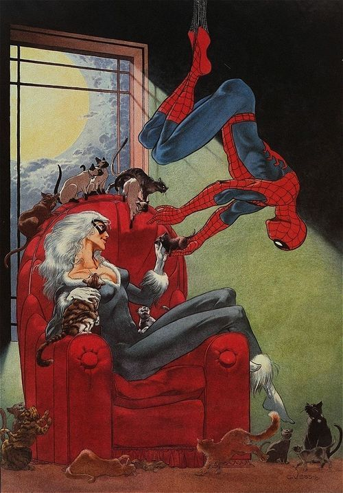 Spider Man and Black Cat by Charles Vess