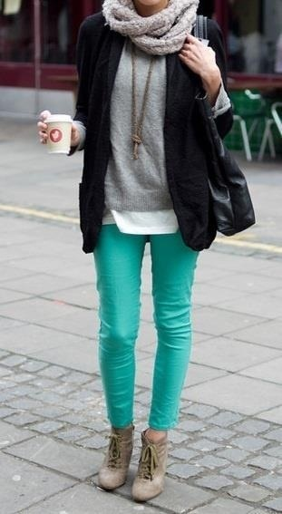 Teal pants like mine, shown with gray tee and infinity scarf