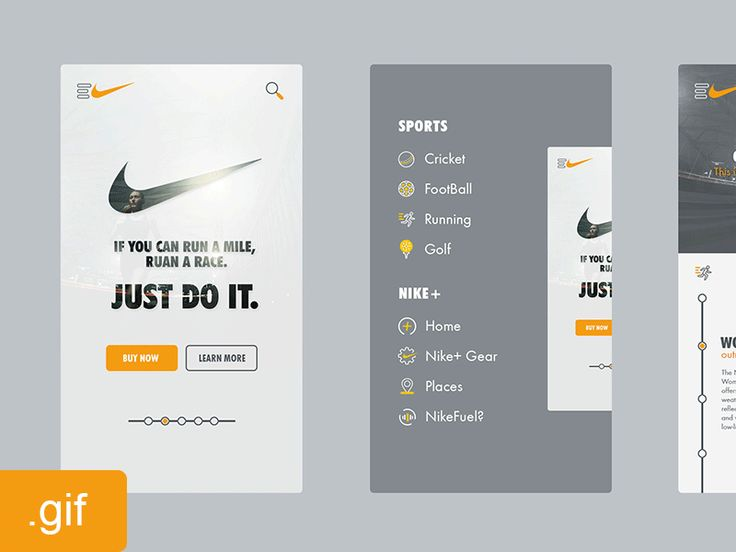 Nike App Walk-through Animated .Gif | Flat Mobile User Interface Design #UI