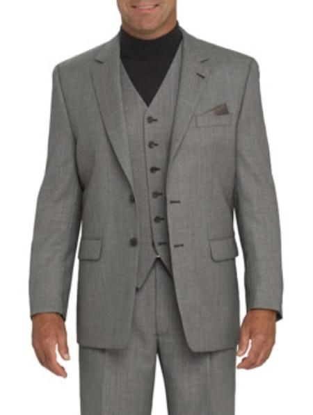 slim fit grey suit features Two-button front entry 3 Piece Vested Fully lined jacket features rear vent Slacks lined to the knee.