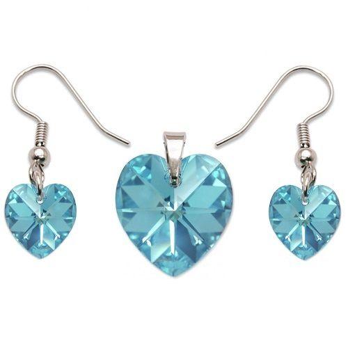 Strieborná srdiečková súprava Swarovski Elements Aquamarine Divine Jewellery eshop