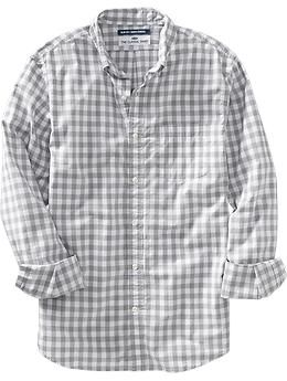 Men's Everyday Classic Slim-Fit Shirts - Grey Gingham