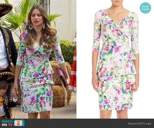 Gloria's pink and green floral dress on Modern Family.  Outfit Details…