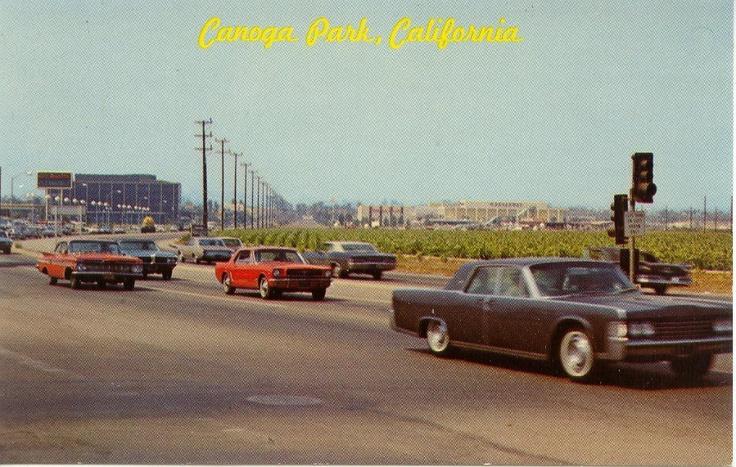 Canoga Park, California in the 1960s. Looking west along Victory Blvd. (at Winnetka, I believe) toward Topanga Plaza.