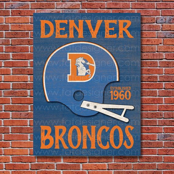 Denver Broncos - Vintage Helmet - Art Print - Perfect for Mancave