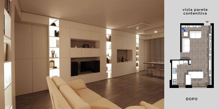 """Questo soggiorno moderno è un altro esempio chiaro di cosa possiamo intendere con """"Interior Design Sartoriale"""", perchè in questo caso tutti i mobili sono letteralmente cuciti sulle pareti perimetrali della casa, fruttandone la massima altezza e potendo così ridurre la profondità."""