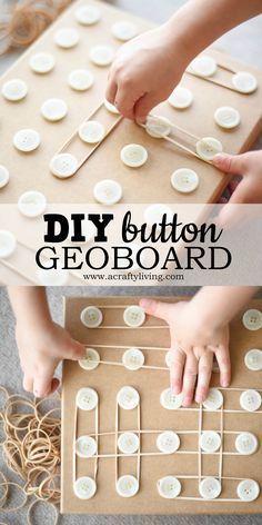 DIY Button Geoboard for Preschoolers! www.acraftyliving...
