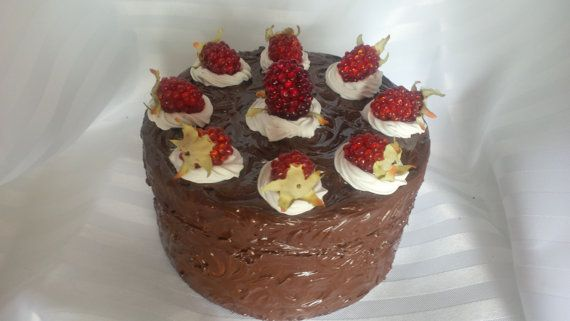 MEDIUM Cake Box   5 Faux Raspberry Topped by ReadyMadeGifts