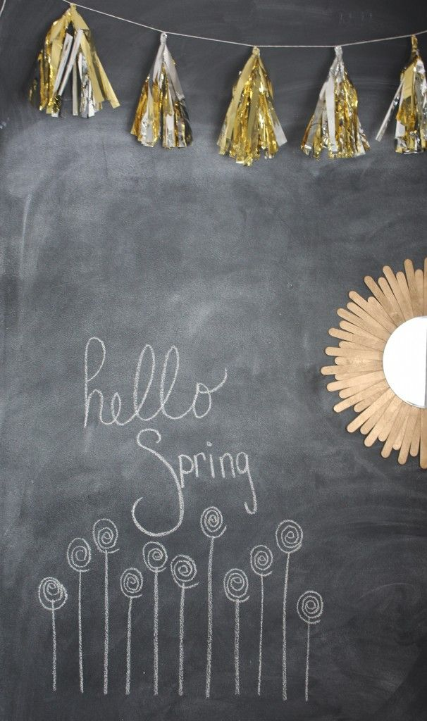 Spring in our house and chalkboard art www.simplestylings.com