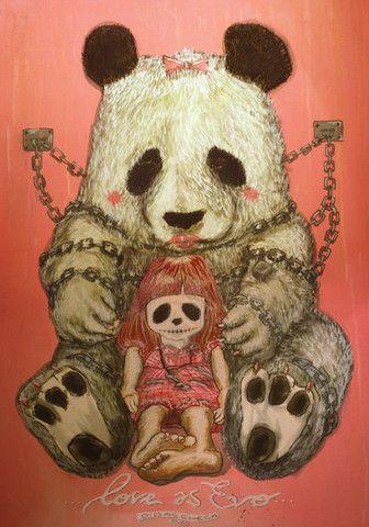 """Cuadro de oso panda y niña de titulado """"Mi juguete preferido"""" de Didac Checa"""