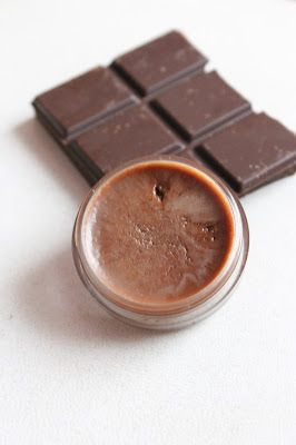 Only 3 ingredients to make this lip gloss - olive oil, coco butter and dark chocolate.  yum