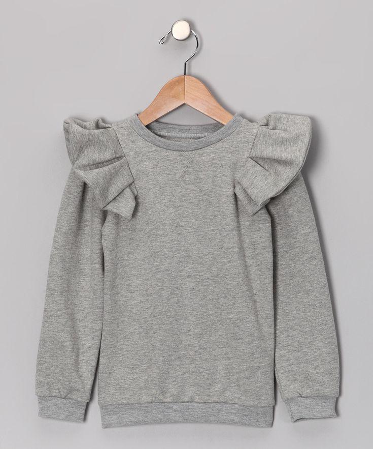 Gray Ruffle Sweatshirt - Infant, Toddler & Girls