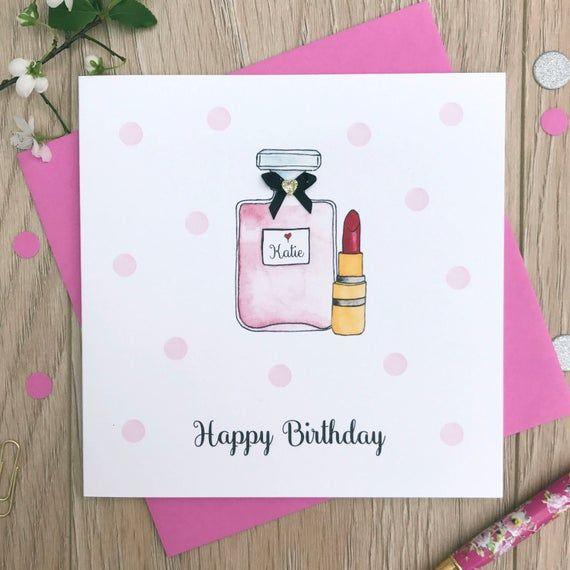 Personalised Ladies Birthday Card Perfume Birthday Card Etsy In 2021 Birthday Cards For Girlfriend Watercolor Birthday Cards Personalized Birthday Cards