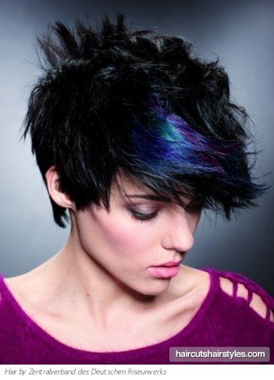Oooooh.....pretty peacock colors! Blue highlight in short black hair